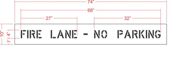 No Parking Fire Lane Stencil 2